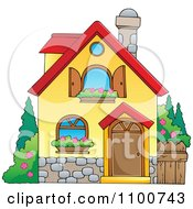 Clipart Yellow House With Shutters And A Window Planter Royalty Free Vector Illustration