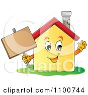 Clipart Happy House Holding A Sign Royalty Free Vector Illustration