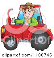 Clipart Happy Farmer Driving A Red Tractor Royalty Free Vector Illustration