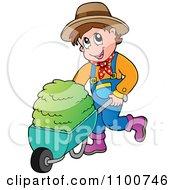 Happy Farmer Pushing Fresh Hay In A Wheel Barrow