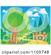 Clipart Tree And Wood Fence Beside A Nature Path Royalty Free Vector Illustration