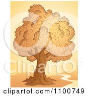 Clipart Tree At Sunset With A Creek Or Nature Trail Royalty Free Vector Illustration