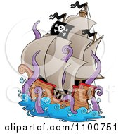 Clipart Pirate Ship Being Attacked By A Giant Octopus Or Squid Royalty Free Vector Illustration by visekart