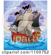 Clipart Pirate Ship Sailing In A Storm Royalty Free Vector Illustration
