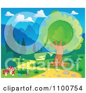 Clipart Tree And Mushrooms Beside A Nature Path Royalty Free Vector Illustration by visekart