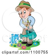 Clipart Happy Gardener Watering His Plants Royalty Free Vector Illustration by visekart