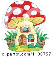 Clipart Mushroom House With A Wooden Fence Royalty Free Vector Illustration by visekart