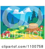 Clipart Tree Stump Beside A Nature Trail In The Woods Royalty Free Vector Illustration