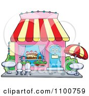 Clipart Cake Or Candy Shop With Outdoor Seating Royalty Free Vector Illustration