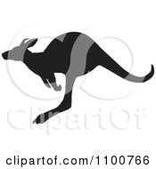 Clipart Silhouetted Hopping Kangaroo Royalty Free Vector Illustration