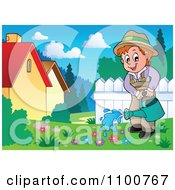 Clipart Happy Gardener Watering Flowers In A Meadow Royalty Free Vector Illustration