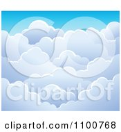 Clipart Background Of Puffy Clouds In A Blue Sky Royalty Free Vector Illustration