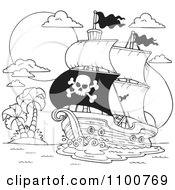 Clipart Outlined Pirate Ship Nearing A Tropical Island Royalty Free Vector Illustration