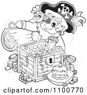 Clipart Outlined Pirate Inspecting A Treasure Chest Full Of Booty Royalty Free Vector Illustration