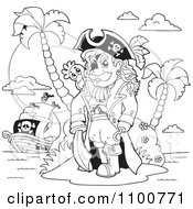 Clipart Outlined Pirate Standing On An Island Royalty Free Vector Illustration