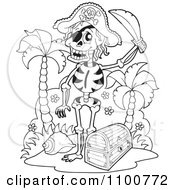 Clipart Outlined Skeleton Pirate Standing By A Treasure Chest Royalty Free Vector Illustration