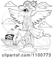Clipart Outlined Parrot Pirate And Ship By An Island Royalty Free Vector Illustration