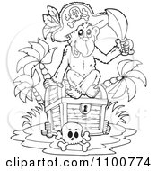 Outlined Monkey Pirate Sitting On A Treasure Chest