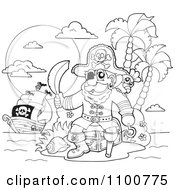 Clipart Outlined Pirate Sitting On A Treasure Chest On An Island With His Ship In The Distance Royalty Free Vector Illustration