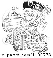Clipart Outlined Female Pirate And Bird Admiring A Full Treasure Chest Royalty Free Vector Illustration