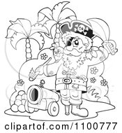 Clipart Outlined Pirate On An Island With A Cannon Royalty Free Vector Illustration