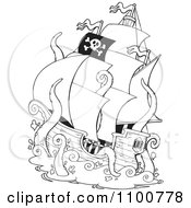 Outlined Pirate Ship Being Attacked By A Giant Octopus Or Squid