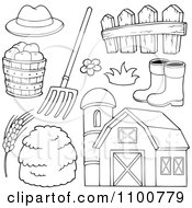 Clipart Outlined Farmer Hat Pitchfork Fence Rubber Boots Apples Wheat Hay And Barn Royalty Free Vector Illustration