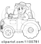 Outlined Happy Farmer Driving A Red Tractor
