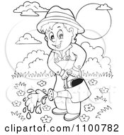 Clipart Outlined Happy Gardener Watering His Plants Royalty Free Vector Illustration