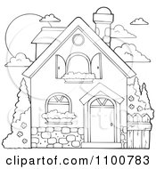 Clipart Outlined House With Shutters And A Window Planter Royalty Free Vector Illustration