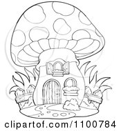 Clipart Outlined Mushroom House With A Wooden Fence Royalty Free Vector Illustration