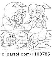 Clipart Outlined Mermaid Sitting On A Rock By An Island And Dolphin Royalty Free Vector Illustration by visekart