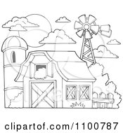 Clipart Outlined Barn With Hay In The Loft A Silo And Windmill Royalty Free Vector Illustration by visekart