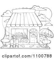 Clipart Outlined Cake Or Candy Shop With Outdoor Seating Royalty Free Vector Illustration