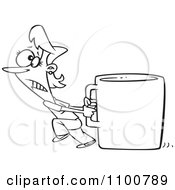 Clipart Outlined Woman Pulling A Huge Coffee Cup Royalty Free Vector Illustration