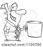 Outlined Cartoon Businessman Grinning And Holding A Giant Coffee Mug