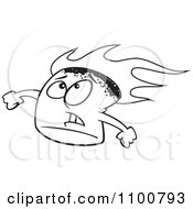 Clipart Outlined Stressed Flaming Marshmallow Royalty Free Vector Illustration