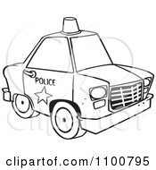 Outlined Police Car With A Siren Cone On The Roof