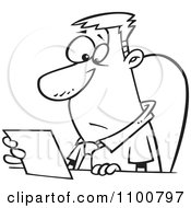 Clipart Outlined Businessman Seated At A Desk And Reading A Memo Royalty Free Vector Illustration