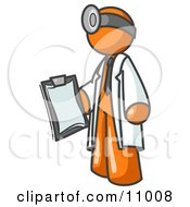 Orange Male Doctor Holding A Clipboard