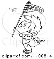 Clipart Outlined Cartoon Boy Chasing A Butterlfy With A Net Royalty Free Vector Illustration