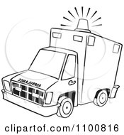 Clipart Outlined Ambulance With Lit Siren Light Royalty Free Vector Illustration