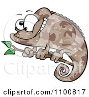 Clipart Happy Cartoon Brown Chameleon Lizard With Camouflage Patterns Royalty Free Vector Illustration by toonaday