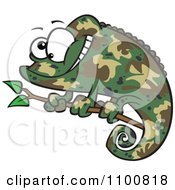 Clipart Happy Cartoon Green Chameleon Lizard With Camouflage Patterns Royalty Free Vector Illustration by Ron Leishman