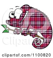Clipart Happy Cartoon Magenta Plaid Chameleon Lizard Royalty Free Vector Illustration by toonaday