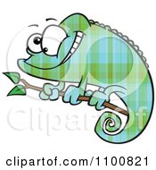 Clipart Happy Cartoon Green And Blue Plaid Chameleon Lizard Royalty Free Vector Illustration by toonaday