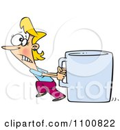 Clipart Woman Pulling A Huge Coffee Cup Royalty Free Vector Illustration