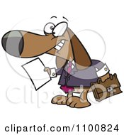 Clipart Legal Beagle Attorney Lawyer Dog Holding A Document Royalty Free Vector Illustration