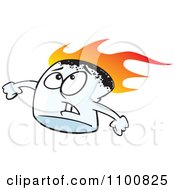 Clipart Stressed Flaming Marshmallow Royalty Free Vector Illustration