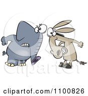 Clipart Cartoon Opposing Democratic Donkey And Republican Elephant Royalty Free Vector Illustration